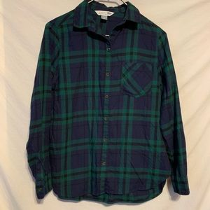 Old navy small navy green plaid flannel shirt 2202